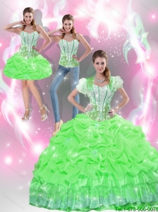 Beautiful Spring Green Quinceanera Dresses with Appliques and Pick Ups For 2015 Fall