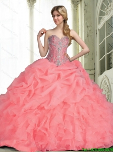 Elegant 2015 Summer Quinceanera Dresses with Beading in Watermelon