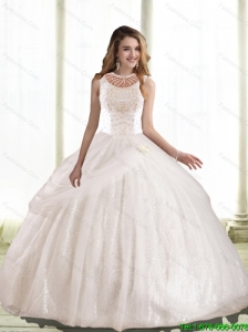 Luxurious Ball Gown Hand Made Flowers and Beaded Quinceanera Dress For 2015 Summer