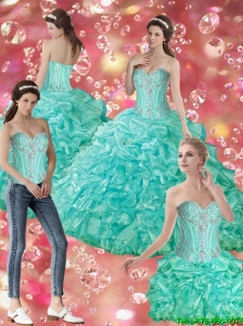 Luxurious Ball Gown Sweetheart Quinceanera Dresses with Beading For 2015 Summer