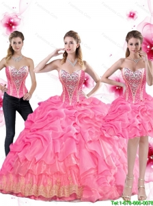 Luxurious Rose Pink Quinceanera Dress with Beading and Pick Ups For 2015 Fall