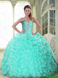 New Style Sweetheart Brush Train Apple Green Quinceanera Dresses with Beading For 2015 Summer
