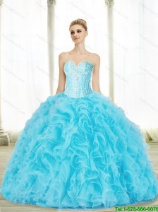 Perfect Baby Blue Sweetheart Quinceanera Dresses with Beading and Ruffles For 2015 Summer