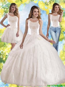 Perfect Hand Made Flowers and Beaded Quinceanera Dress with Bateau For 2015 Summer