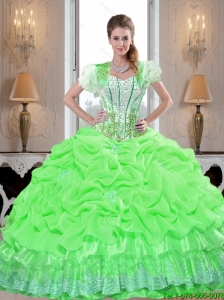 Perfect Quinceanera Dresses with Appliques and Pick Ups in Spring Green For 2015 Summer