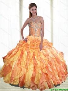 Prefect Multi Color Quinceanera Dresses with Beading and Ruffles For 2015 Summer