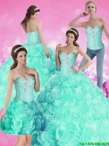 2015 Summer Pretty Ball Gown Beaded Quinceanera Dresses with Rolling Flowers