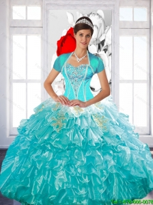 Luxurious Beaded Quinceanera Dress with Ruffled Layers and Appliques For 2015 Summer