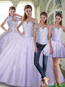 Pretty Ball Gown Sweetheart Lavender Quinceanera Dresses with Beading For 2015 Summer