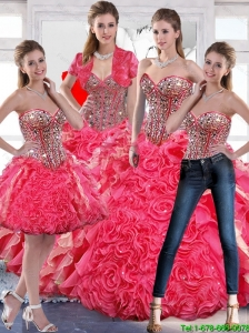 Pretty Beaded Ball Gown Quinceanera Dress with Hand Made Flowers For 2015 Fall