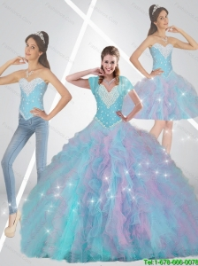 Pretty Multi Color Quinceanera Dresses with Beading and Ruffles For 2015 Fall
