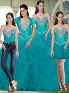 Pretty Sweetheart Quinceanera Dresses with Beading and Ruffles in Turquoise For 2015 Summer