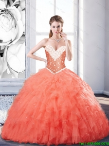 Pretty Sweetheart Watermelon Quinceanera Dresses with Beading and Ruffles For 2015 Fall