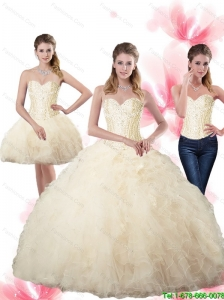 Puffy Beaded Sweetheart Champagne Quinceanera Dresses with Ruffles For 2015 Fall