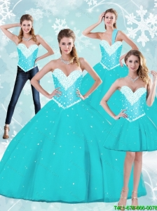 Puffy Floor Length Quinceanera Dresses with Beading and Ruffles For 2015 Summer