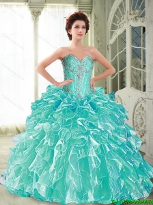 Puffy Sweetheart Quinceanera Dresses with Ruffles and Beading For 2015 Summer