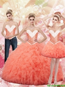 2015 Fall New Style Sweetheart Watermelon Sweet 16 Dresses with Beading