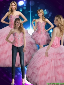2015  Summer Luxurious Sweetheart Baby Pink Sweet 16 Dress with Beading