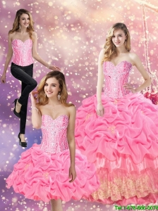 Beautiful 2015 Summer Beaded Sweet 16 Dresses with Appliques and Pick Ups
