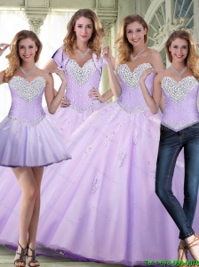 Elegant 2015 Summer Beaded and Appliques Lavender Sweet 16 Dresses