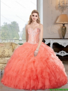 Pretty Sweetheart Watermelon Sweet 16 Dresses with Ruffles and Beading For 2015 Summer