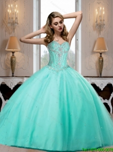 2015 Elegant Aqua Blue Sweetheart Quinceanera Dresses with Beading