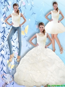2015 Fall Beautiful High Neck and Beaded Quinceanera Dresses with Pick Ups