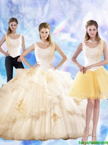 2015 Fall  Perfect Appliques and Beaded Quinceanera Dresses in Champagne