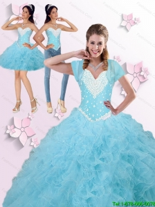 2015 Summer Elegant  Beaded and Ruffles Quinceanera Dresses in Blue