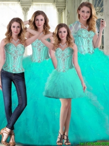 2015 Summer Elegant Sweetheart Beaded Quinceanera Dresses with Ruffles
