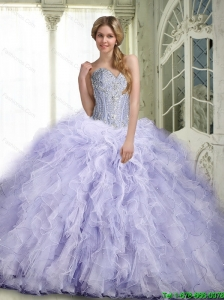 Beautiful Lavender Quinceanera Dresses with Ruffles and Beading For 2015 Summer