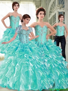 Elegant  Ball Gown 2015 Quinceanera Dresses with Ruffles and Beading
