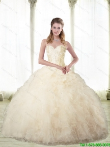 Elegant Champagne Sweetheart Quinceanera Dresses with Beading For 2015 Summer