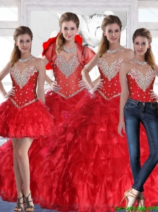 Elegant  Sweetheart Quinceanera Dress with Ruffles and Beading in Red For 2015 Fall
