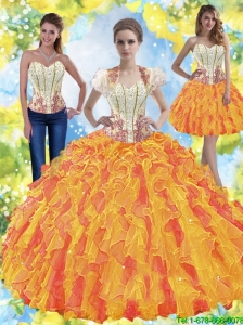 Luxurious Beaded Sweetheart Quinceanera Dresses with Ruffles For 2015 Summer