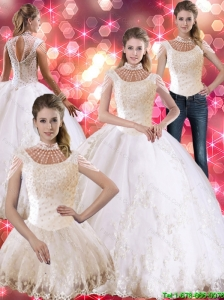 Luxurious  Laceed and Beaded Quinceanera Dress with Cap Sleeves For 2015 Summer