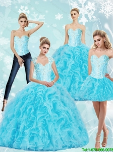 Luxurious Sweetheart Baby Blue Quinceanera Dresses with Beading and Ruffles For 2015 Summer