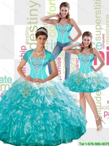 New Arrival  Beaded Aqua Blue Quinceanera Dress with Ruffled Layers and Appliques For 2015 Summer