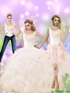 Perfect 2015 Summer High Neck Quinceanera Dress with Beading and Ruffles