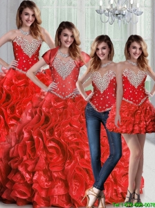 Pretty Sweetheart Red Quinceanera Dresses with Beading and Ruffles For 2015 Fall