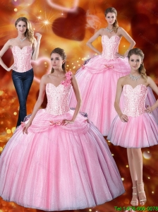 Top Seller 2015 Summer Sweetheart Bowknot Quinceanera Dresses with Beading in Pink