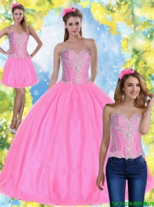 Top Seller  Ball Gown Pink 2015 Summer Quinceanera Dresses with Beading