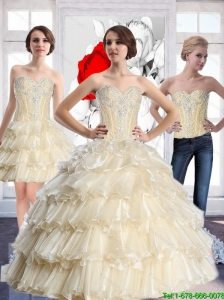 Top Seller  Sweetheart Quinceanera Dresses with Beading and Ruffled Layers For 2015 Fall