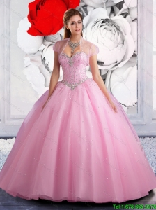 2016 Summer Perfect Ball Gown Rose Pink Quinceanera Dresses with Beading