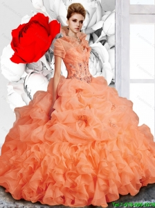 New Style 2015 Fall Sweetheart Brush Train Quinceanera  Dresses with Beading