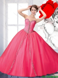 2015 Fall Pretty Beaded Quinceanera Dresses with Brush Train in Hot Pink