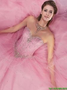 2015 Summer Elegant Sweetheart Beading Sweet 16 Dress in Pink
