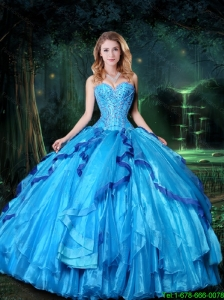 2015 Summer Luxurious Ball Gown Sweetheart Blue Quinceanera Dresses with Beading