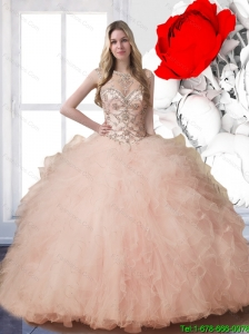 f57f493d719 2015 Summer New Arrival Bateau Quinceanera Dresses with Beading and Ruffles   US  798.9360