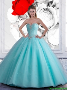 2016 Summer Luxurious Ball Gown Aqua Blue Quinceanera Dresses with Beading